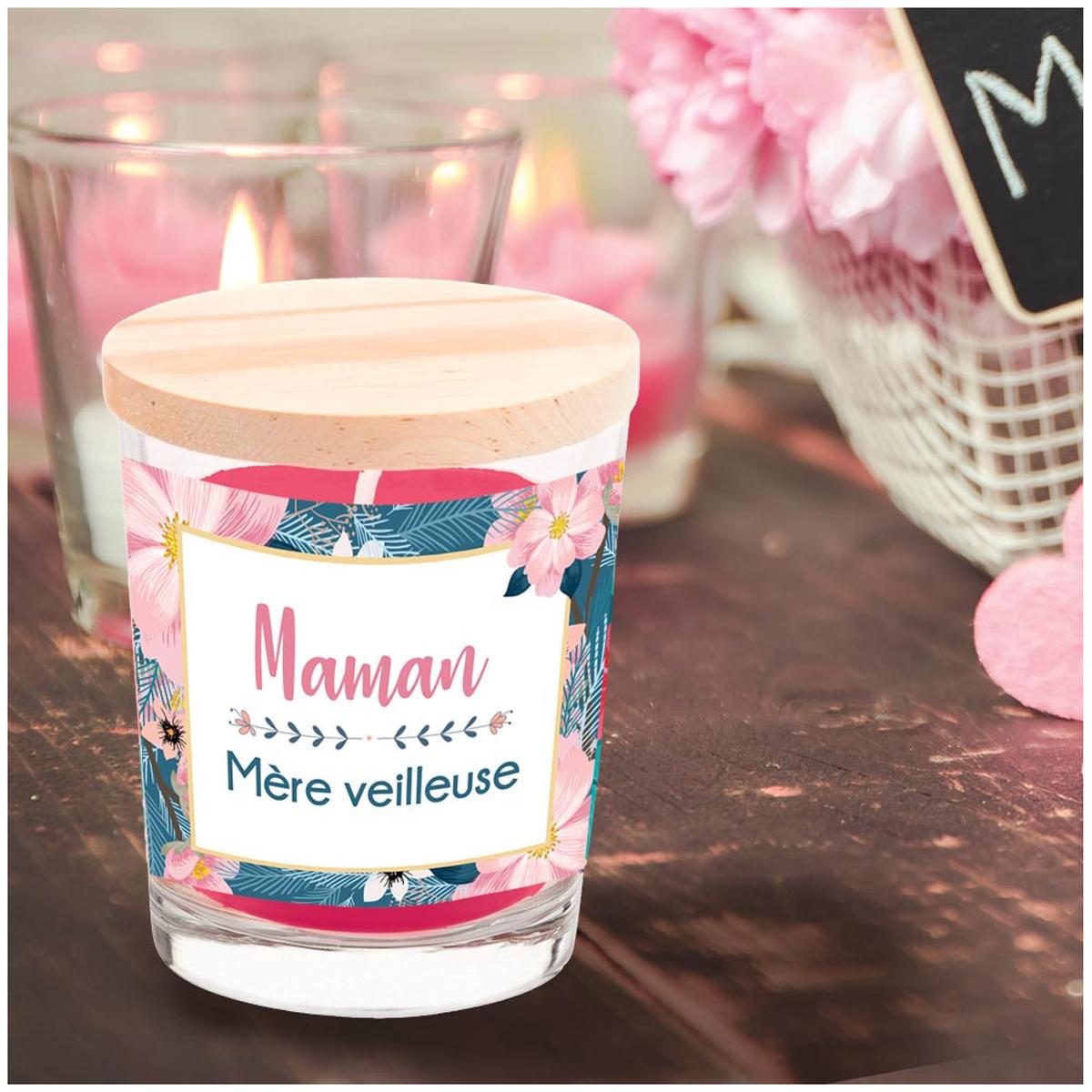 Bougie parfumée \'Maman Mère Veilleuse\' (cerise) - 92x70 mm - [R2639]