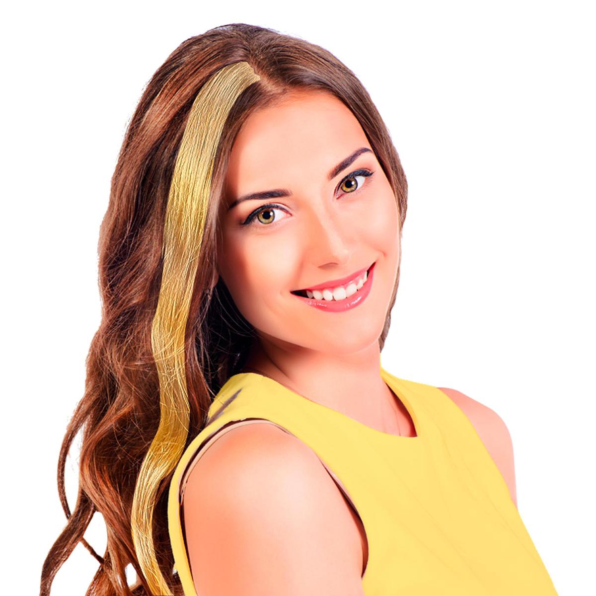 Mèche \'Coloriage\' jaune (faux cheveux) - 40 cm - [R2724]