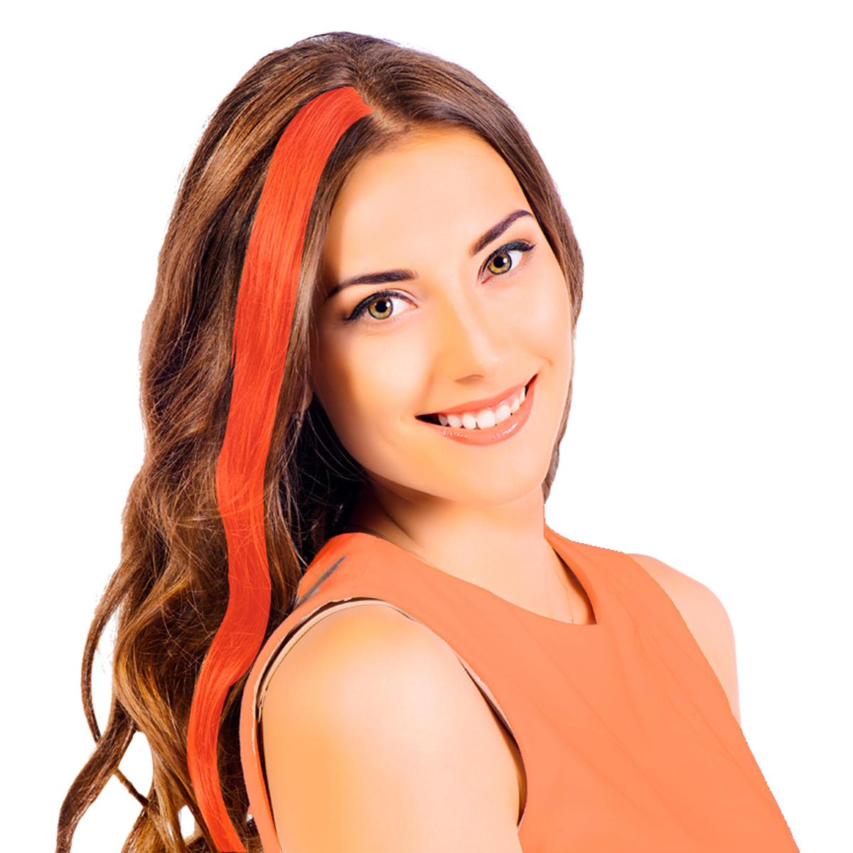 Mèche \'Coloriage\' orange (faux cheveux) - 40 cm - [R2725]