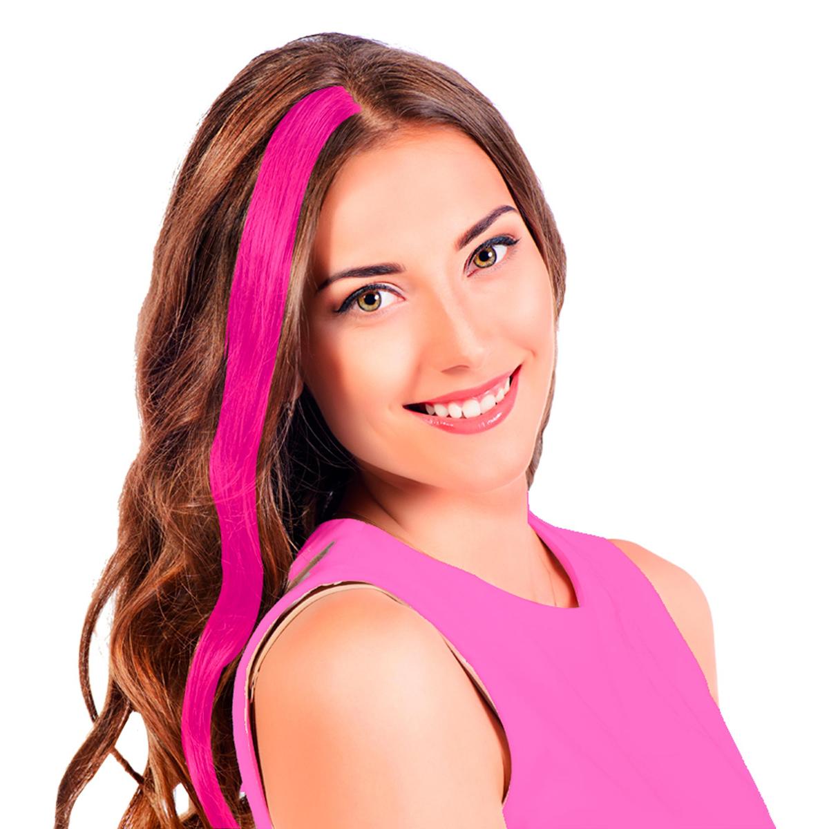 Mèche \'Coloriage\' rose (faux cheveux) - 40 cm - [R2726]