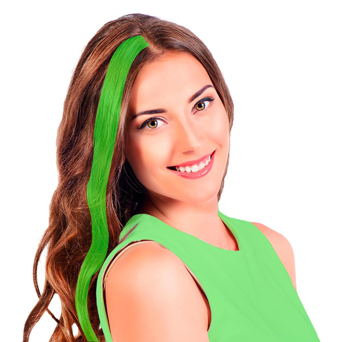 Mèche \'Coloriage\' vert (faux cheveux) - 40 cm - [R2727]