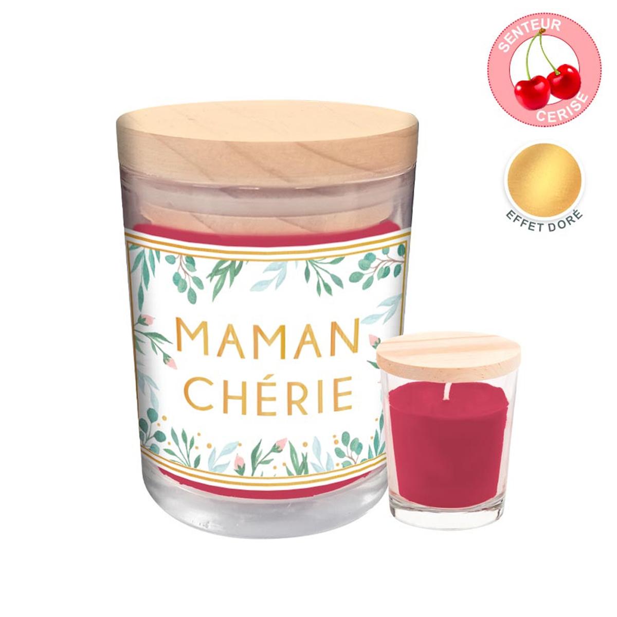 Bougie parfumée \'Maman Chérie\' - 92x70 mm (cerise) - [R3997]