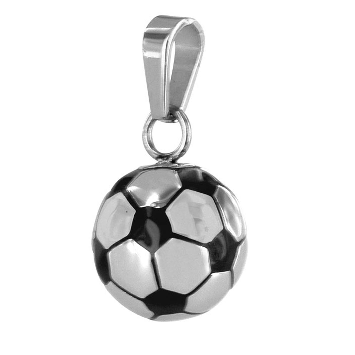 Pendentif acier \'Football\' noir chrome - 15 mm - [R5133]