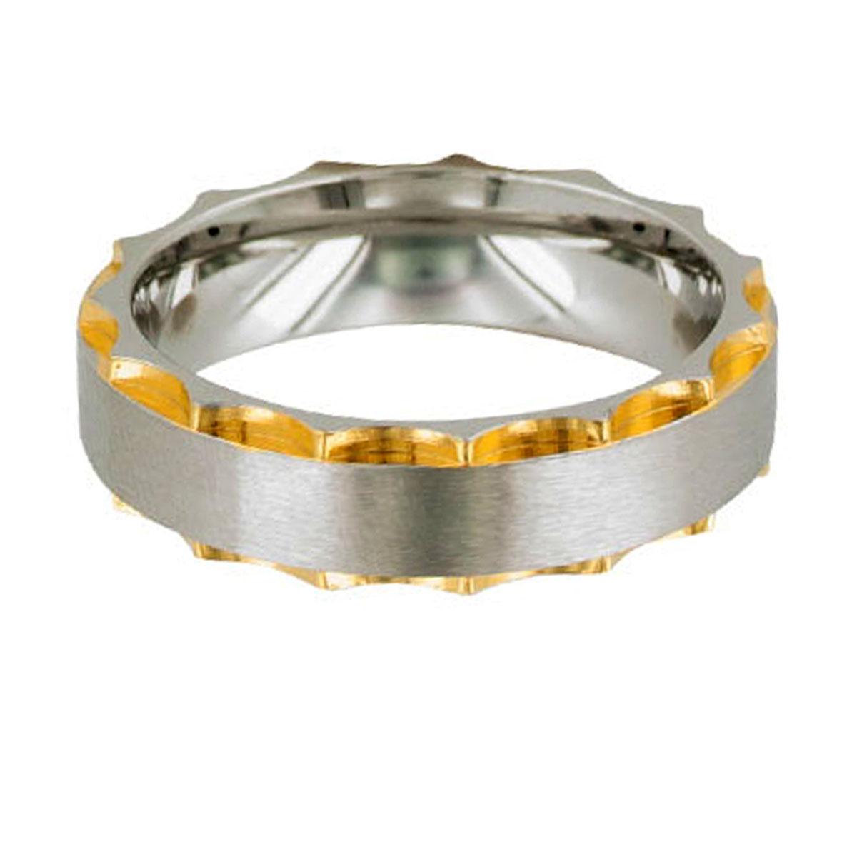 Bague acier \'Peaceful\' argenté doré - 7 mm - [R5135]