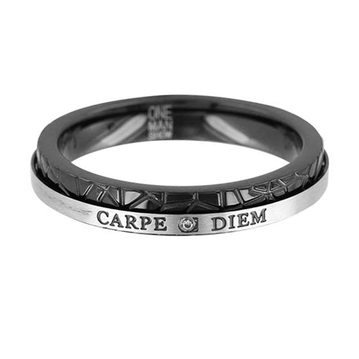 Bague Acier \'Carpe Diem\' noir gris - 4 mm - [R5138]