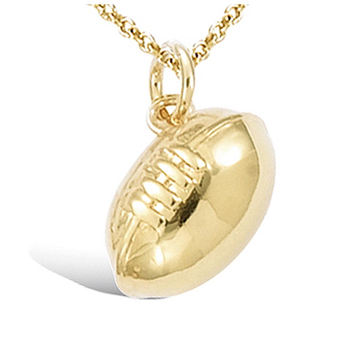 Pendentif plaqué or \'Rugby Ball\' doré - 14x9x8 mm - [R5143]