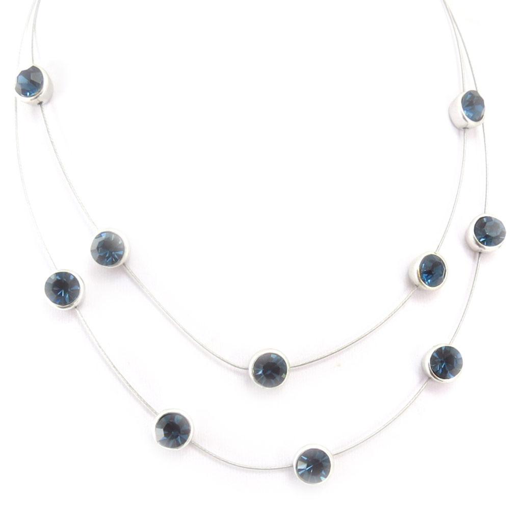 Collier \'Sissi\' bleu - 2 rangs, 8 mm - [R5262]