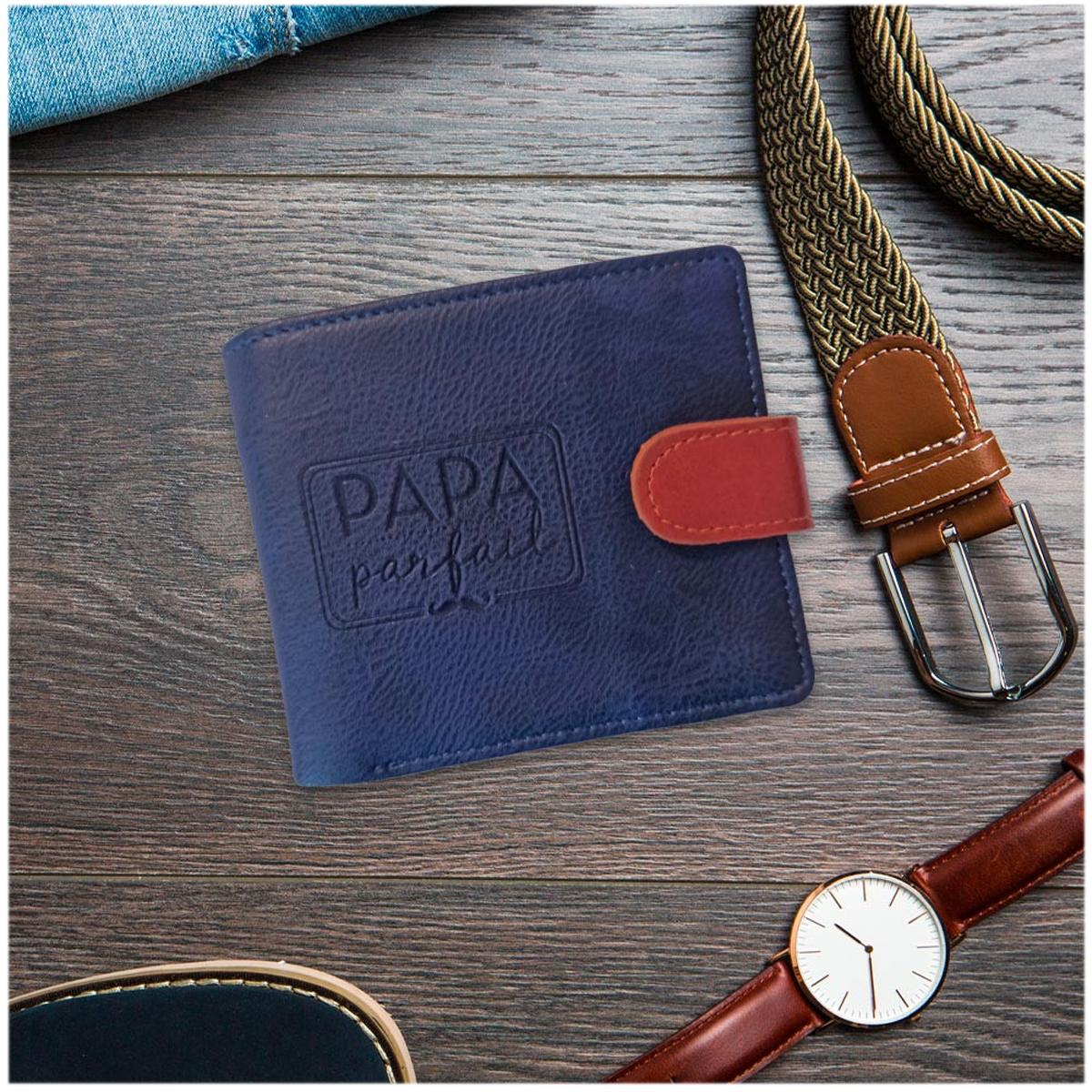 Portefeuille italien \'Papa Parfait\' bleu - 115x95x20 mm - [R5265]