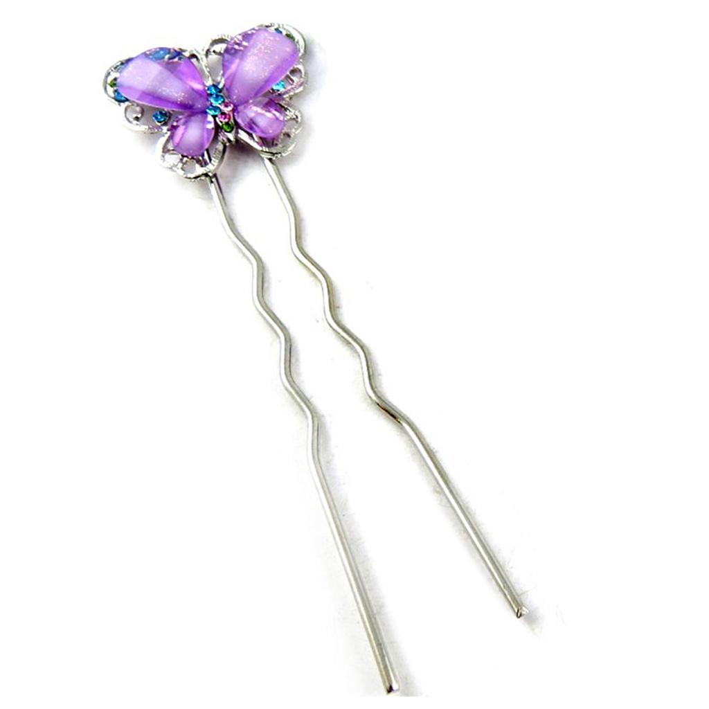 Picot chignon créateur \'Papillons\' violet argenté - 115x35 mm - [R5295]