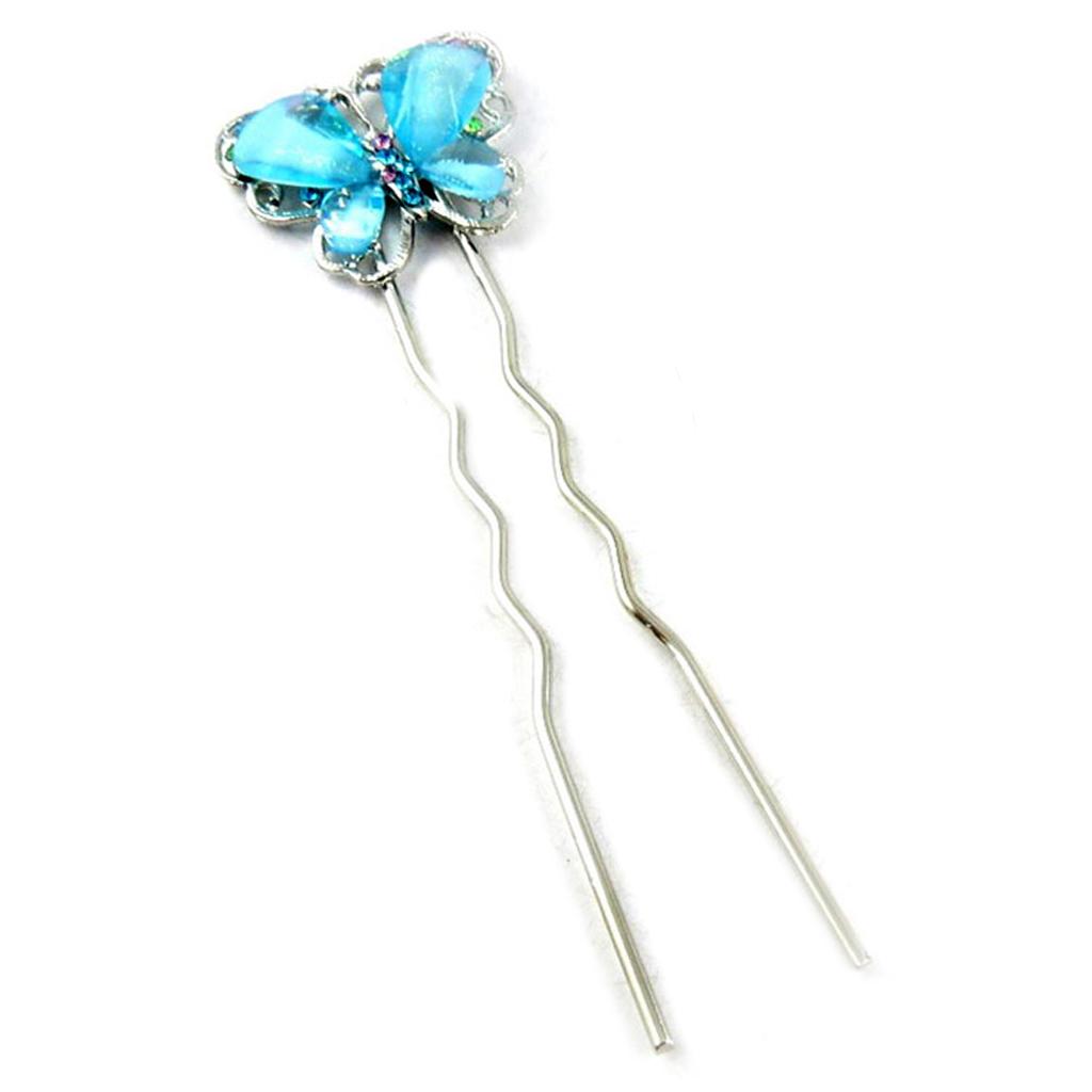 Picot chignon créateur \'Papillons\' turquoise argenté - 115x35 mm - [R5296]