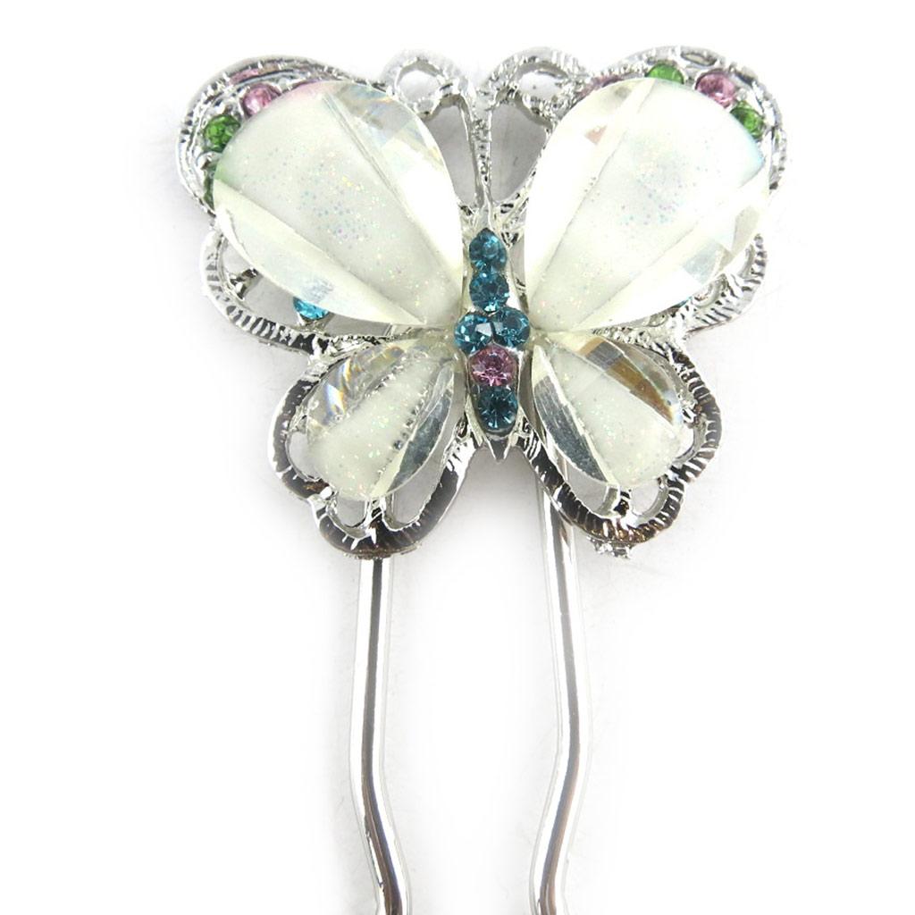 Picot chignon créateur \'Papillons\' blanc argenté - 115x35 mm - [R5297]