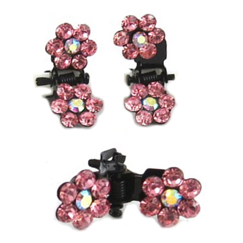 Paire minis pinces \'Sissi\' rose (fleurs) - 8 mm - [R5300]