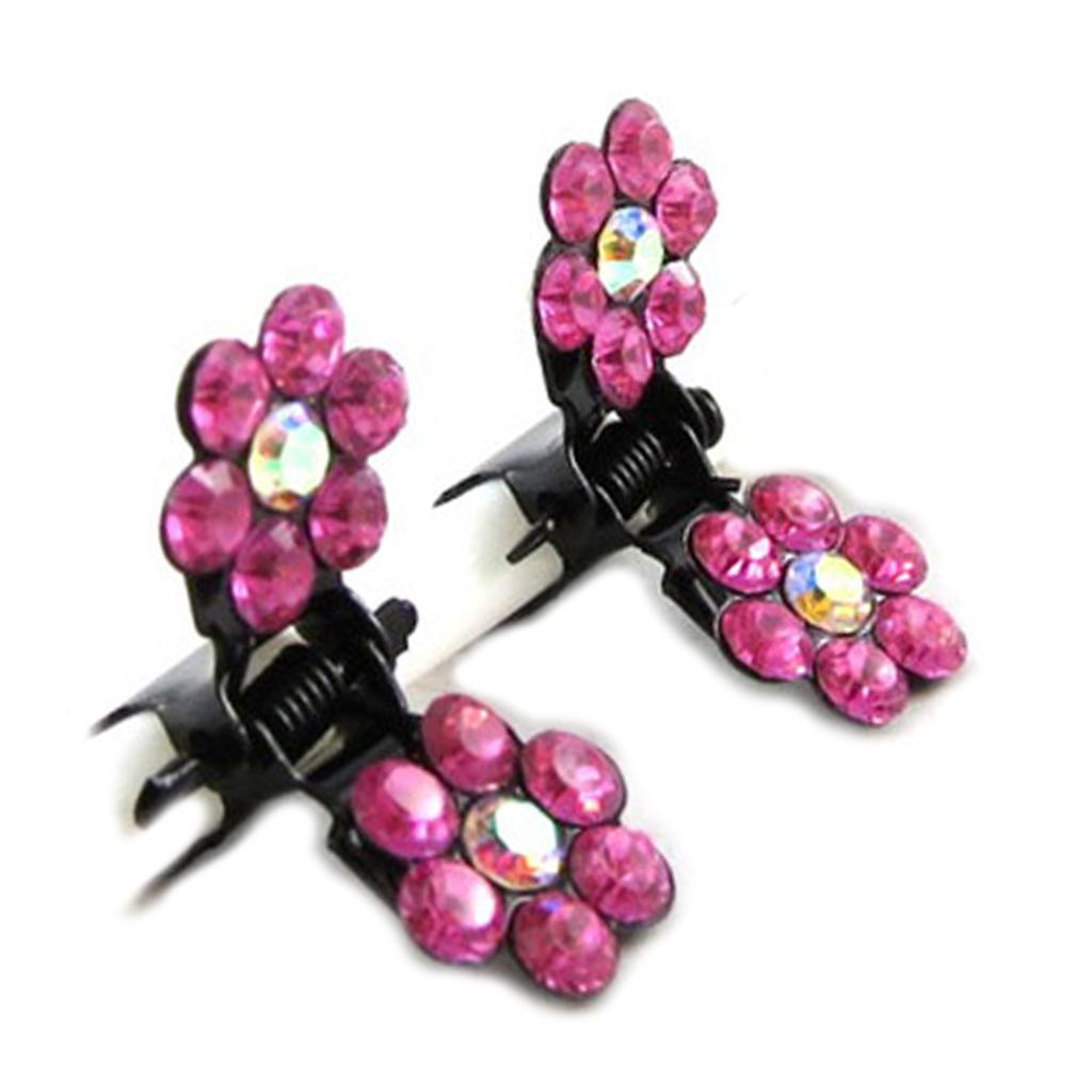 Paire minis pinces \'Sissi\' rose fuchsia (fleurs) - 8 mm - [R5301]