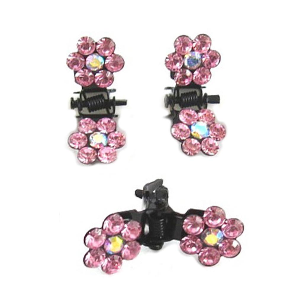 Paire minis pinces \'Sissi\' rose (fleurs) - 8 mm - [R5302]