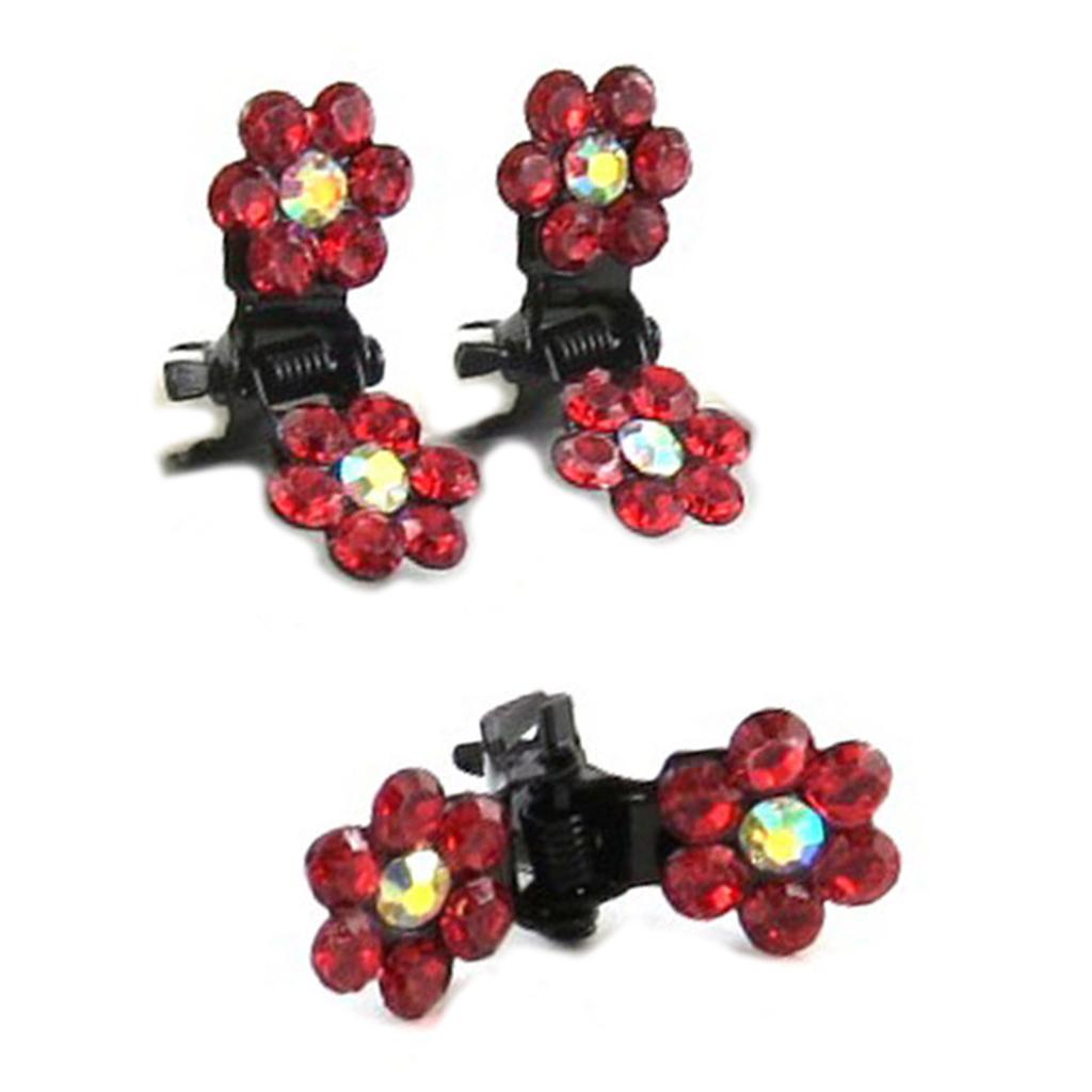 Paire minis pinces \'Sissi\' rouge (fleurs) - 8 mm - [R5303]
