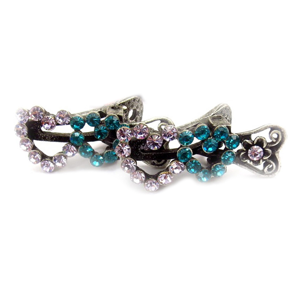 2 mini-pinces \'Sissi\' mauve turquoise (coeur) - 35x15 mm - [R5320]