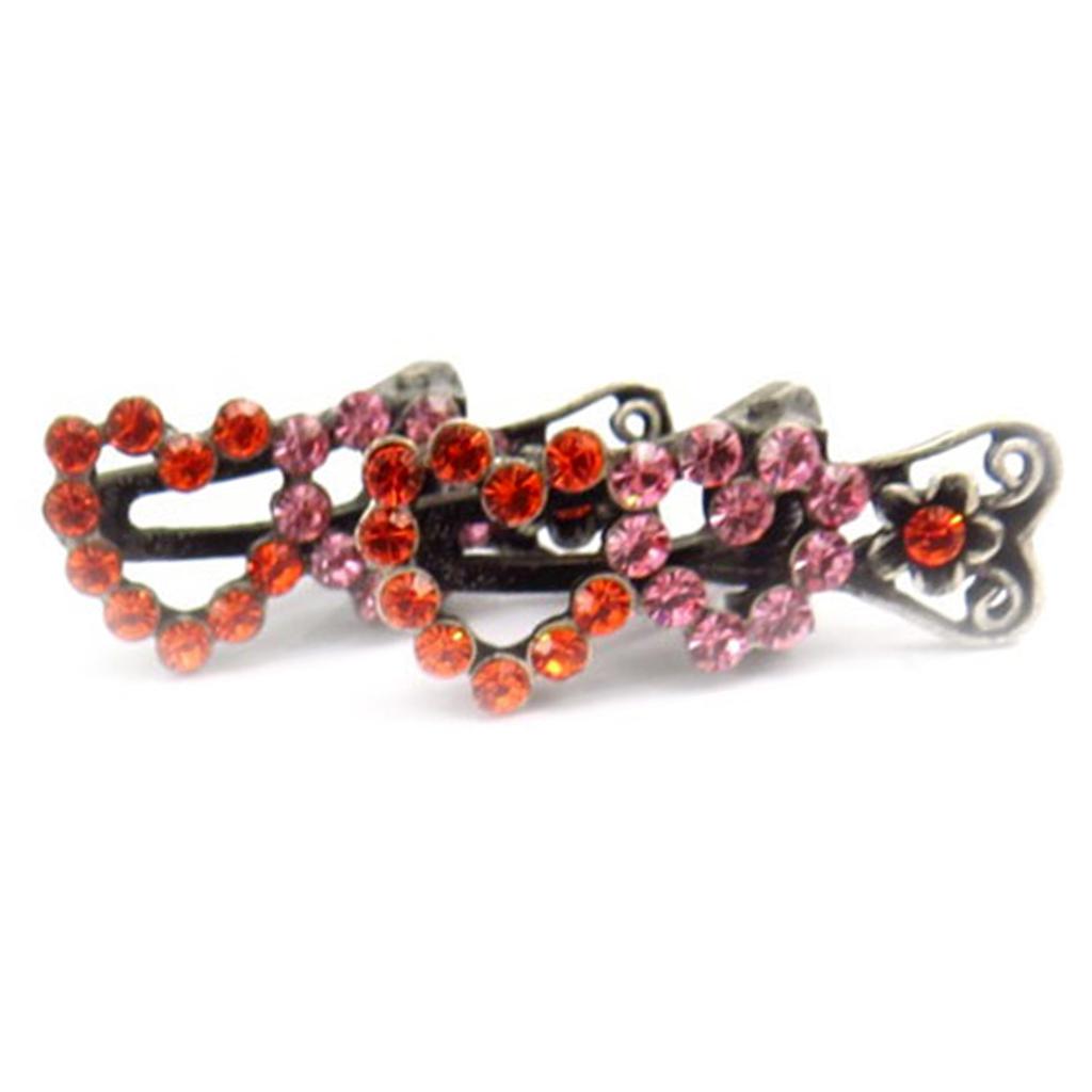 2 mini-pinces \'Sissi\' orange rose (cœur) - 35x15 mm - [R5321]