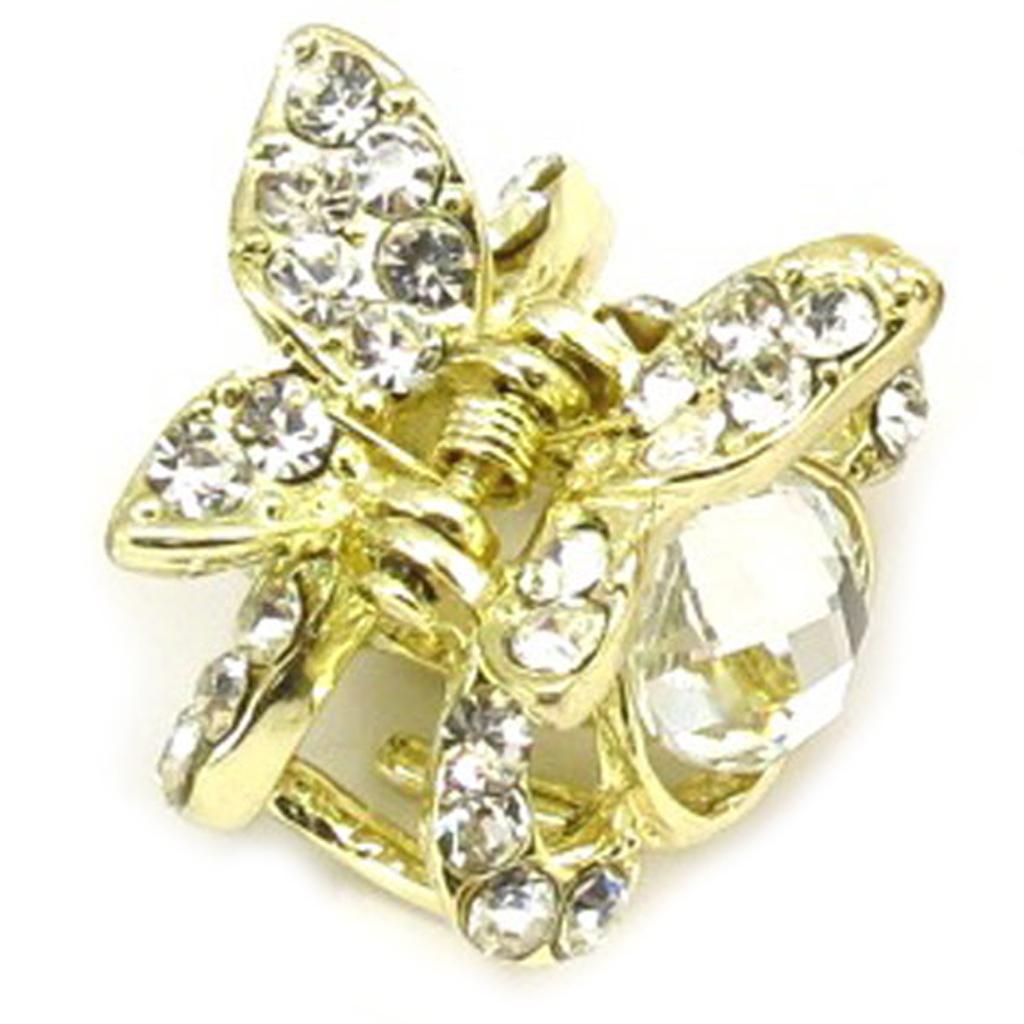Mini pince créateur \'Sissi\' blanc doré (papillon) - 30x30x18 mm - [R5330]