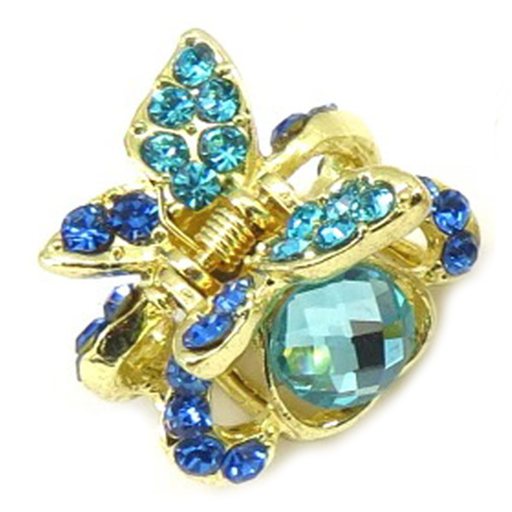 Mini pince créateur \'Sissi\' bleu doré (papillon) - 30x30x18 mm - [R5333]