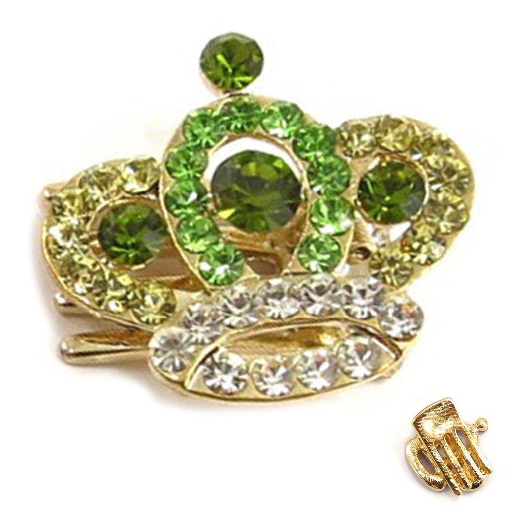 Mini-pince créateur \'Sissi\' vert doré (couronne) - 25x25 mm - [R5334]