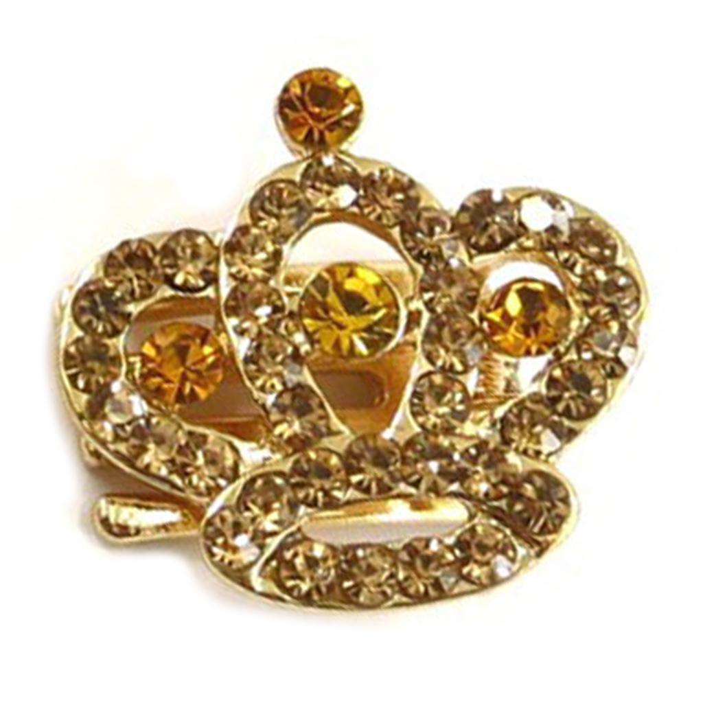 Mini-pince créateur \'Sissi\' ambre doré (couronne) - 25x25 mm - [R5335]
