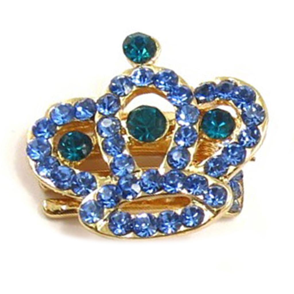 Mini-pince créateur \'Sissi\' bleu doré (couronne) - 25x25 mm - [R5337]