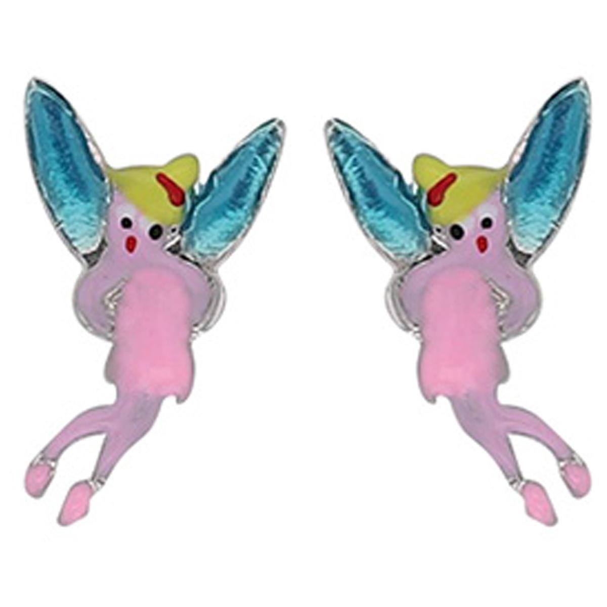 Boucles d\'oreilles artisanales argent \'Fée Clochette\' rose bleu - 10x8 mm - [R5406]