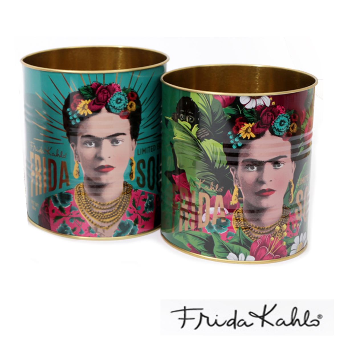 Lot de 2 pots à couverts métal \'Frida Kahlo\' turquoise vert - 13x11 cm et 12x10 cm - [A0039]