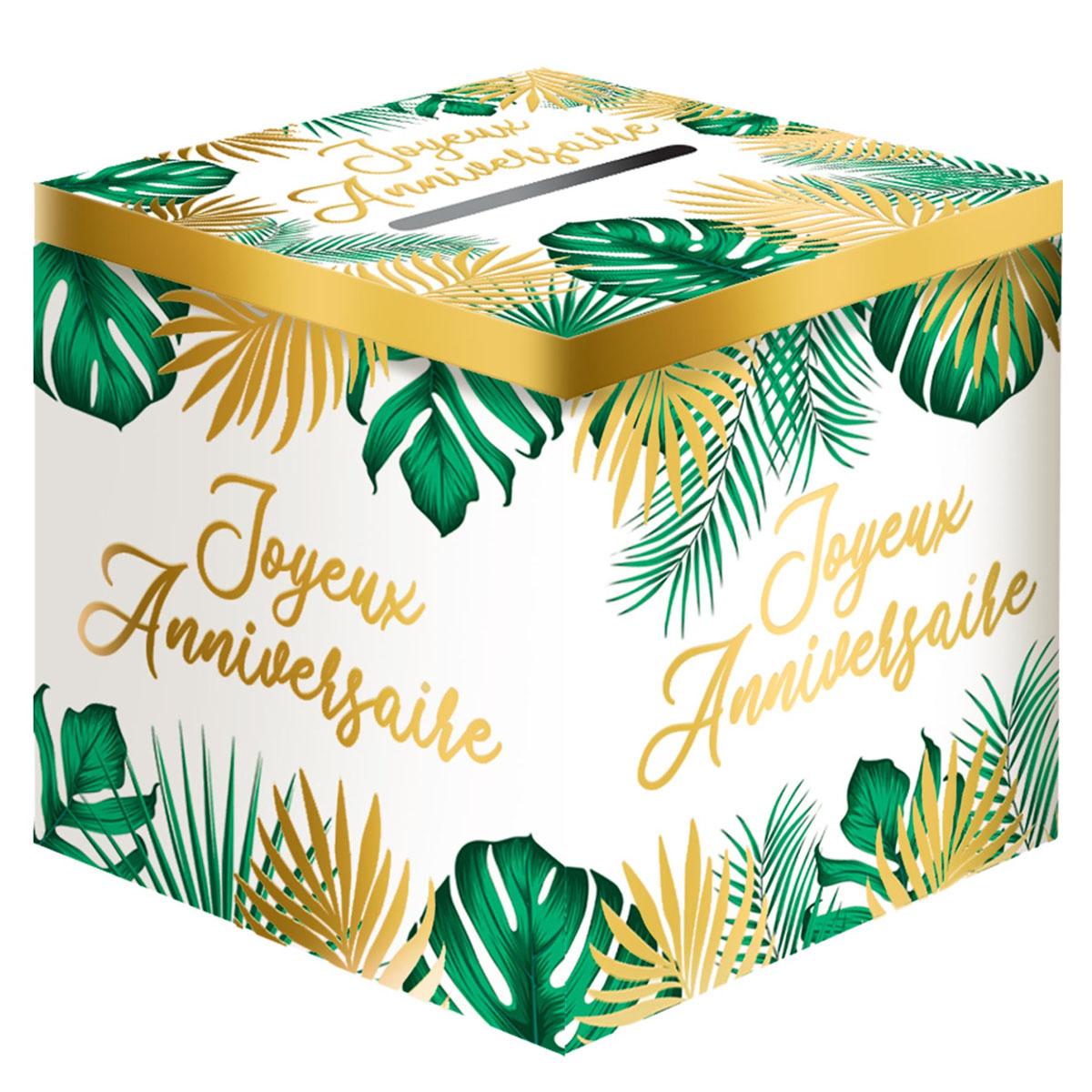 Urne \'Joyeux Anniversaire\' vert doré (tropical) - 20x20 cm - [A2733]
