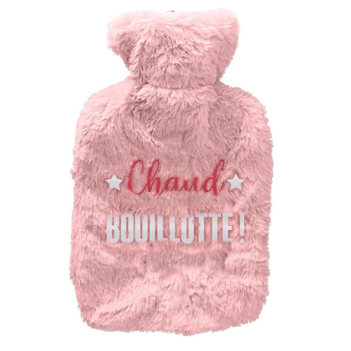 Bouillotte fourrure \'Chaud Bouillotte !\' rose - 27x16 (1L) - [A3012]