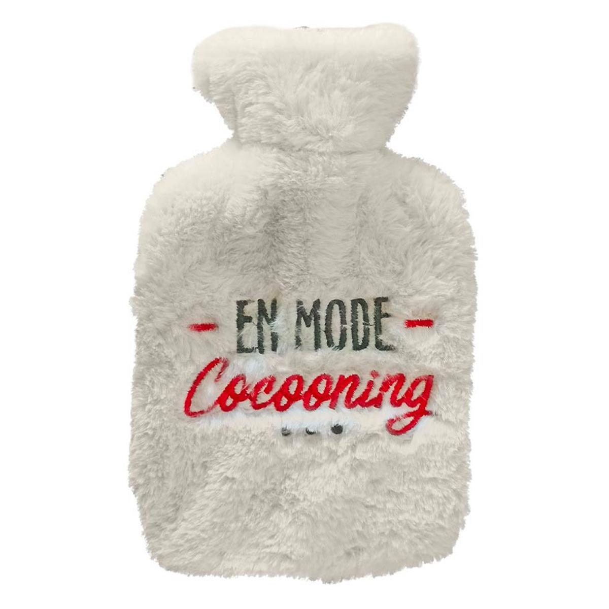 Bouillotte fourrure \'En mode Cocooning\' blanc - 27x16 (1L) - [A3013]