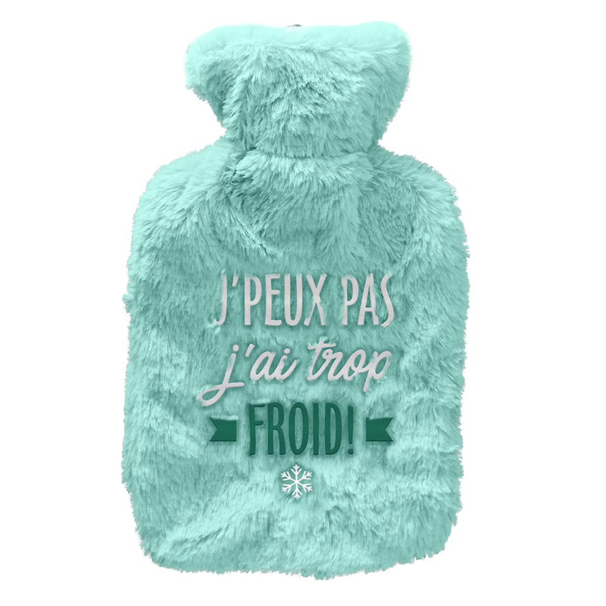 Bouillotte fourrure \'J\'peux pas, j\'ai trop froid !\' turquoise - 27x16 (1L) - [A3014]