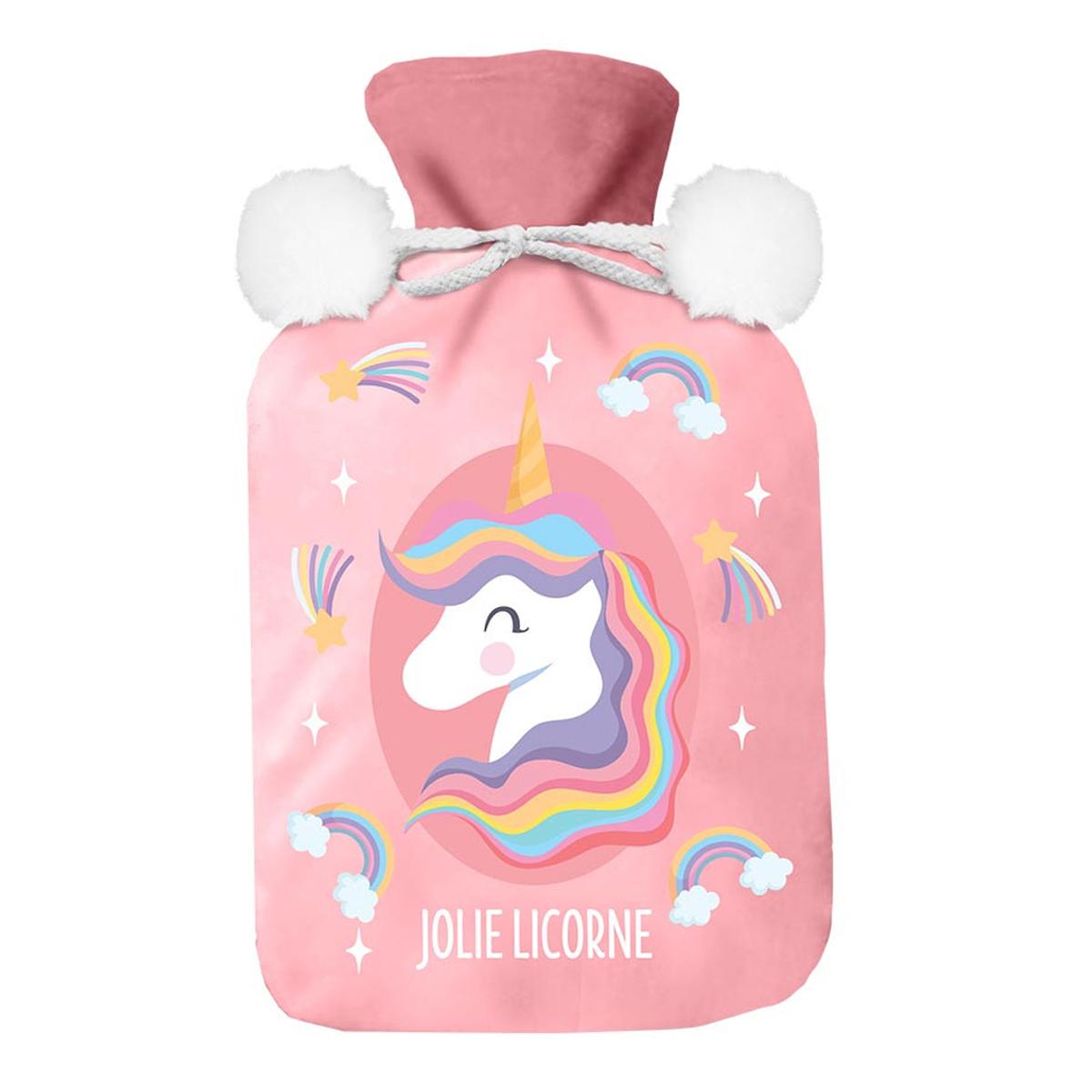 Bouillotte polaire \'Licorne My Unicorn\' rose (jolie licorne) - 27x16 (1L) - [A3015]