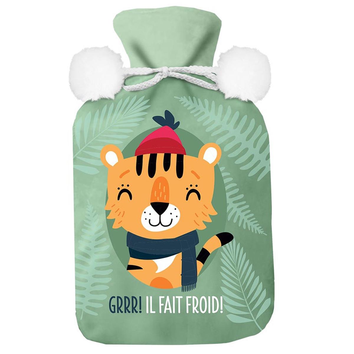 Bouillotte polaire \'Tigre\' vert orange (GRRR! Il fait froid !) - 27x16 (1L) - [A3017]