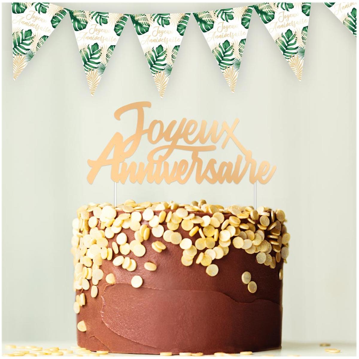 Déco gâteau \'Joyeux Anniversaire\' doré - 17x7 cm - [A3018]