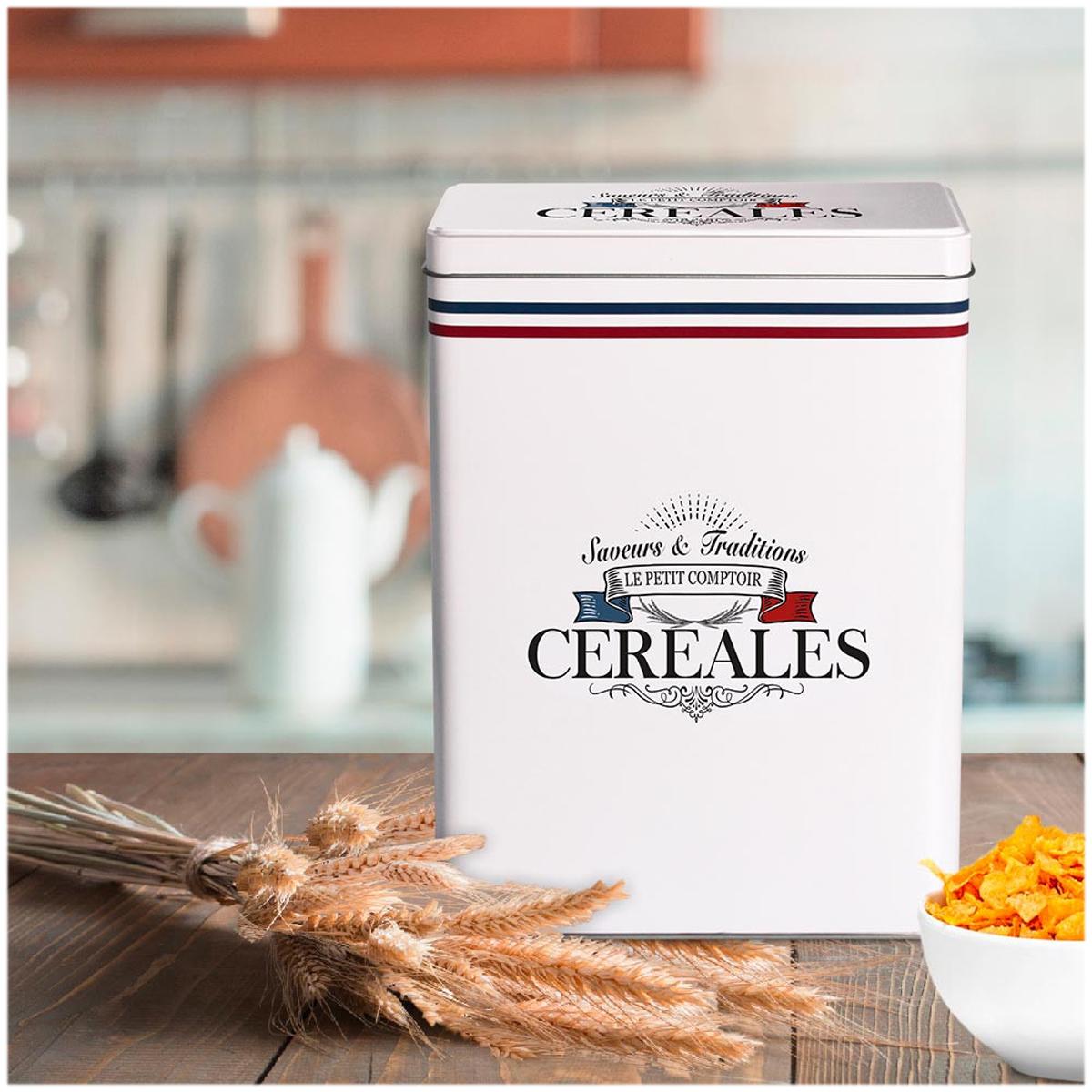 Boite à céréales métal \'Le Petit Comptoir\' blanc (saveurs et traditions) - 25x18x10 cm - [A3022]