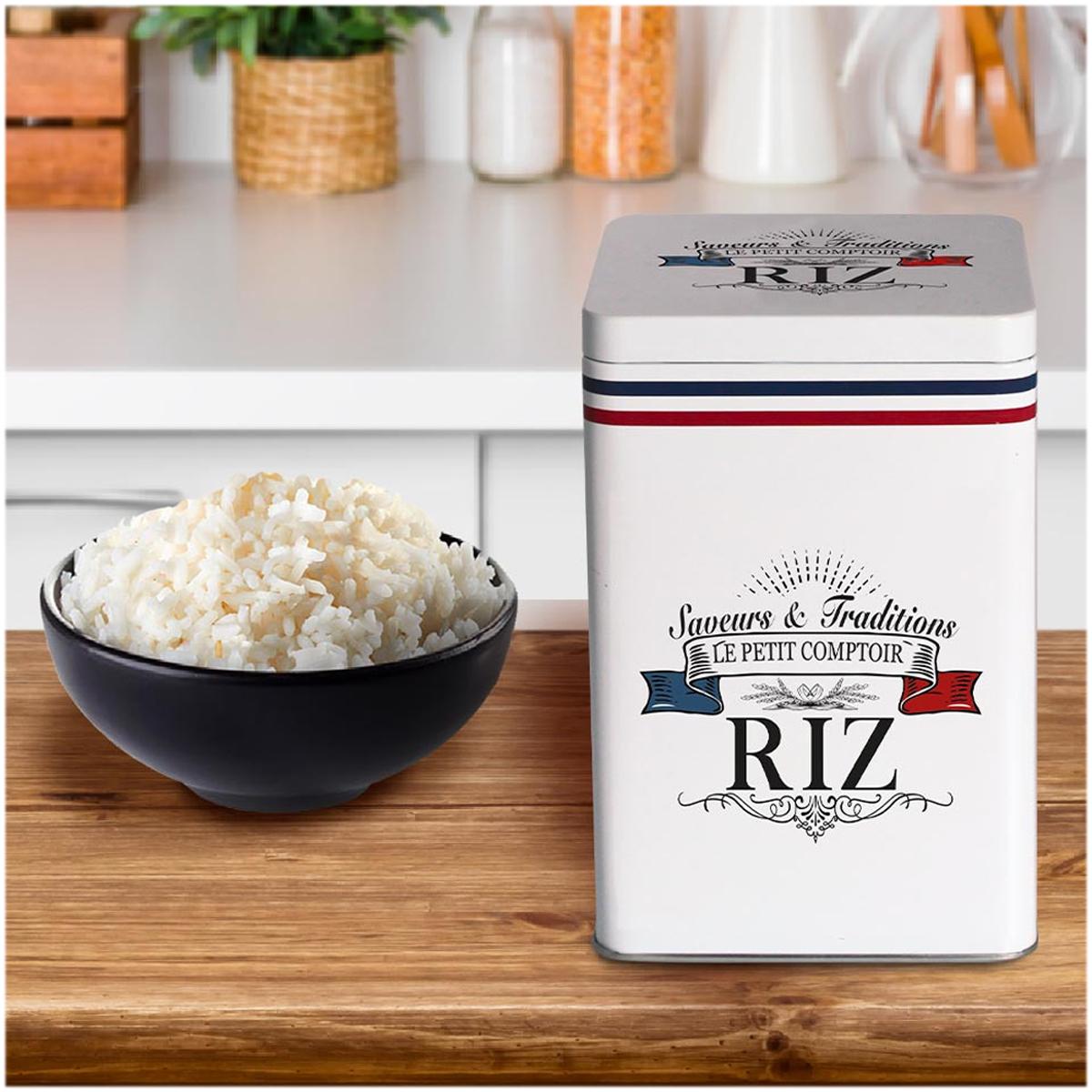 Boite à riz métal \'Le Petit Comptoir\' blanc (saveurs et traditions) - 18x12x12 cm - [A3025]