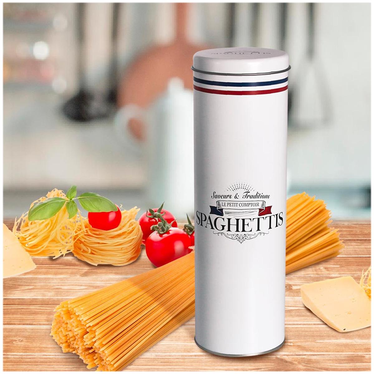 Boite à spaghettis métal \'Le Petit Comptoir\' blanc (saveurs et traditions) - 300x85 mm - [A3028]