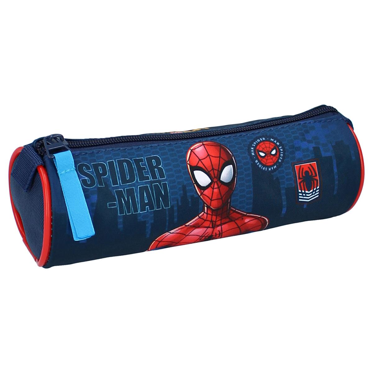 Trousse tube \'Spiderman\' bleu rouge - 20x7 cm - [A3032]