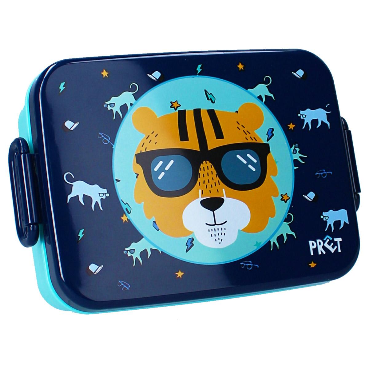 Lunch box \'Tigre\' bleu orange - 16x13x5 cm - [A3071]