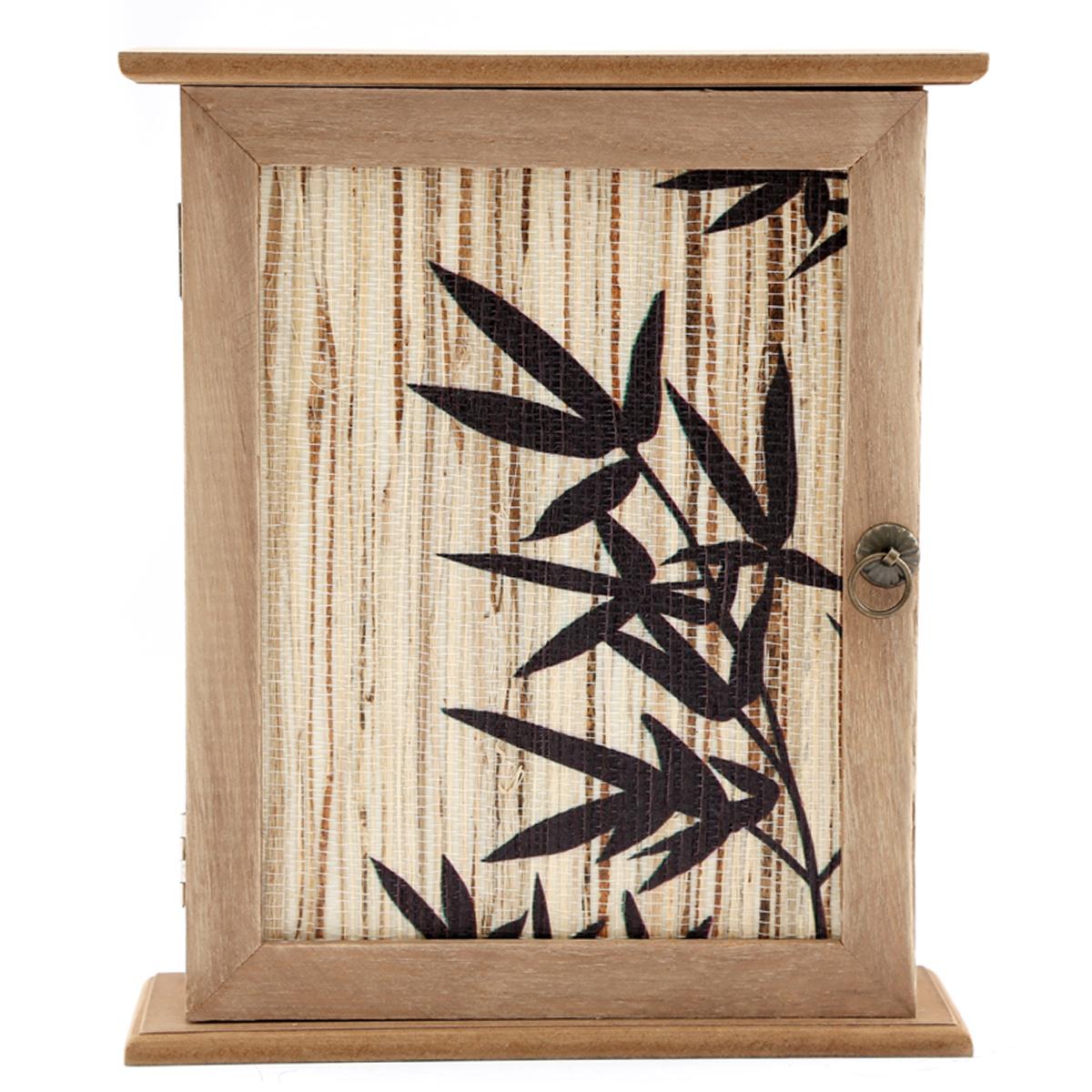 Boite à clés bois \'Bambou\' (6 crochets) - 26x22x7 cm - [A3075]