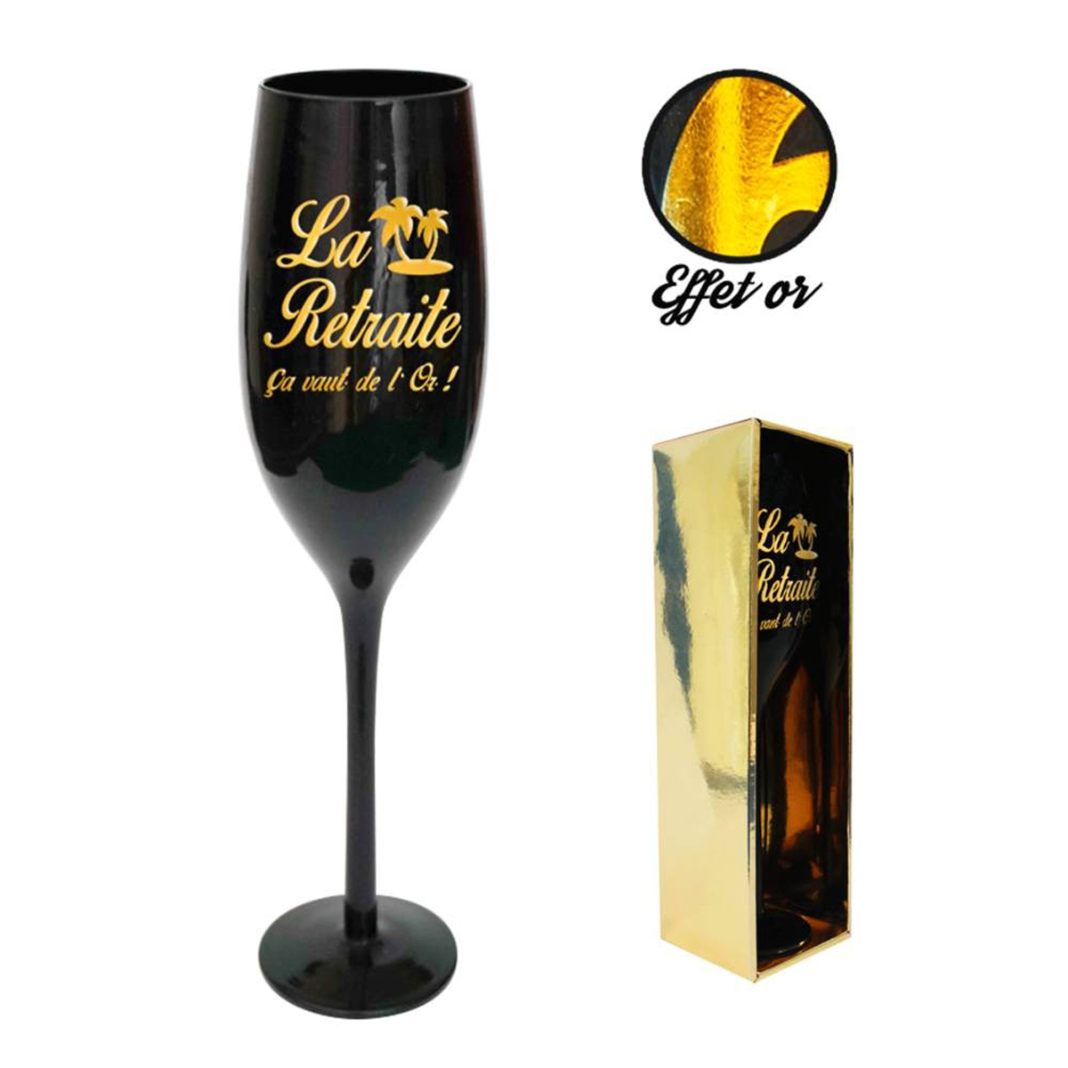 Coupe flute à champagne \'la Retraite\' noir doré - 24 cm - [N2741]