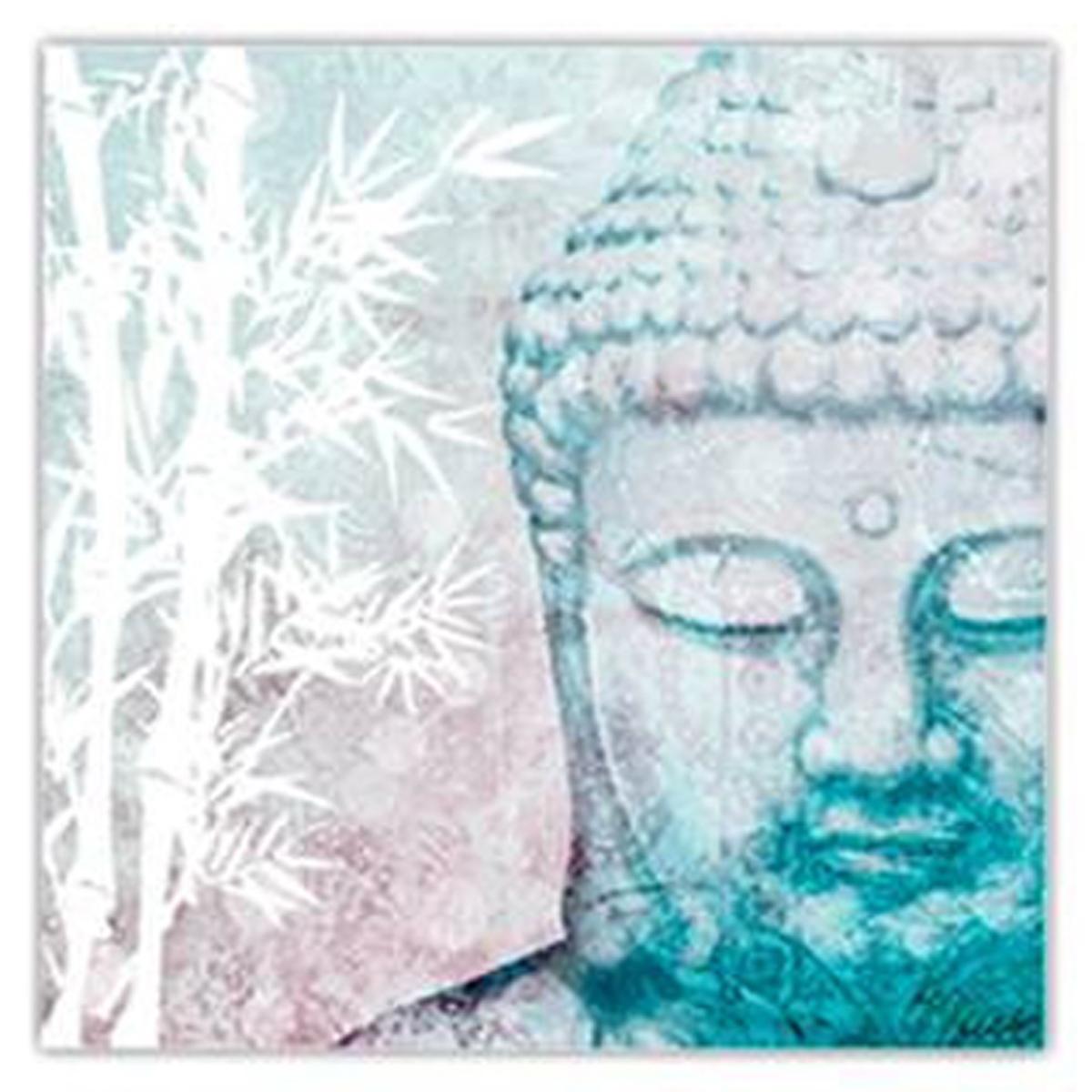 Toile \'Bouddha\' gris - 20x20 cm - [N4143]