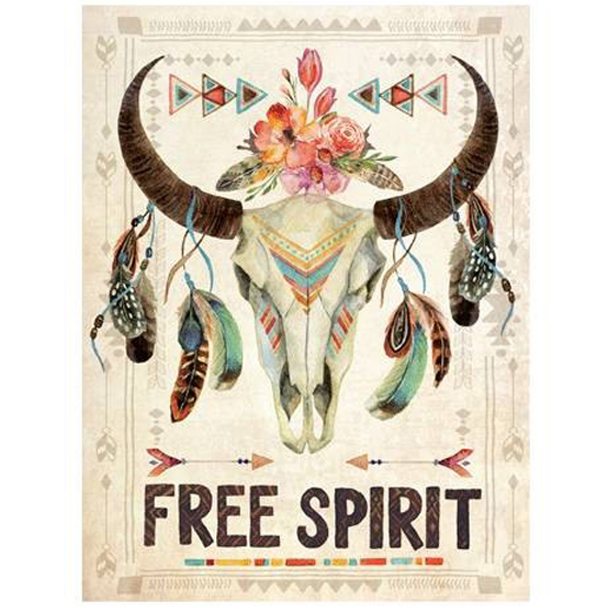 Toile \'Boho\' beige multicolore (Free Spirit) - 40x30 cm - [P1810]