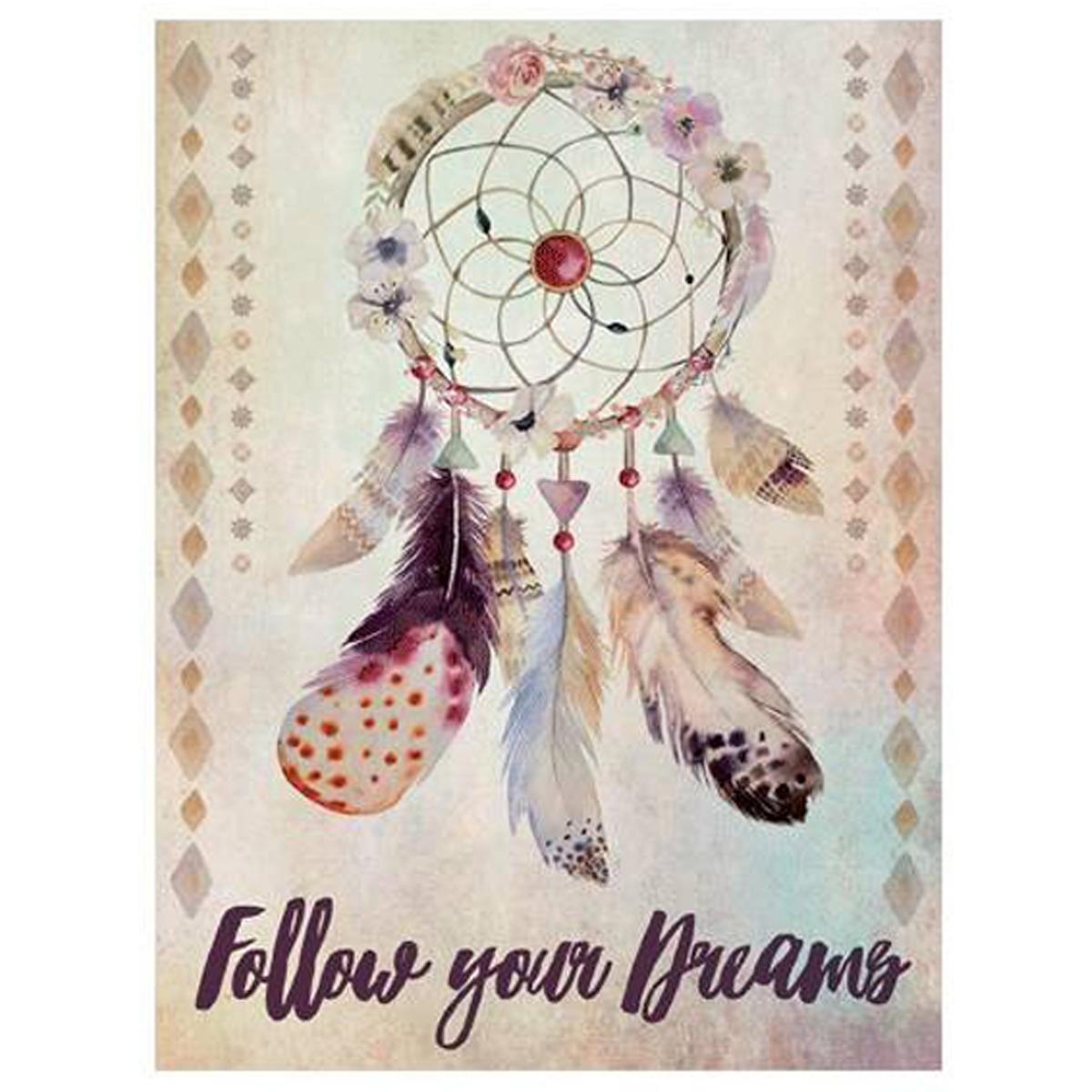 Toile \'Boho\' beige multicolore (Follow your dreams) - 40x30 cm - [P1811]