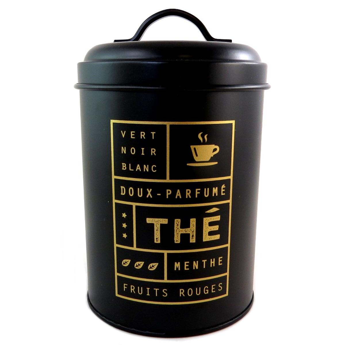 Boite métal design \'Thé\' noir - 17x11 cm - [Q0388]