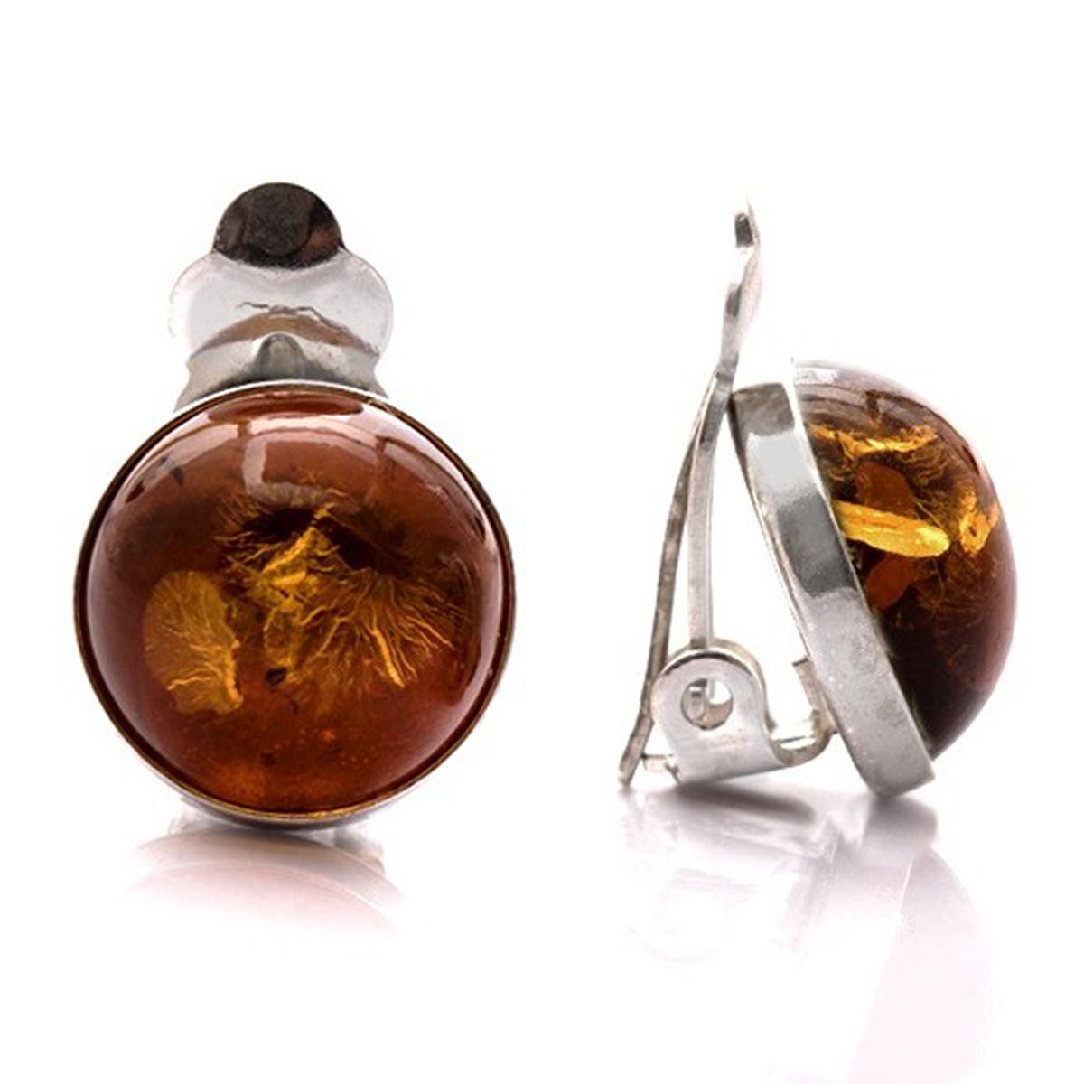 Clips Argent \'Inspiration\' ambre cognac argenté (rhodié) - 12 mm - [Q1803]