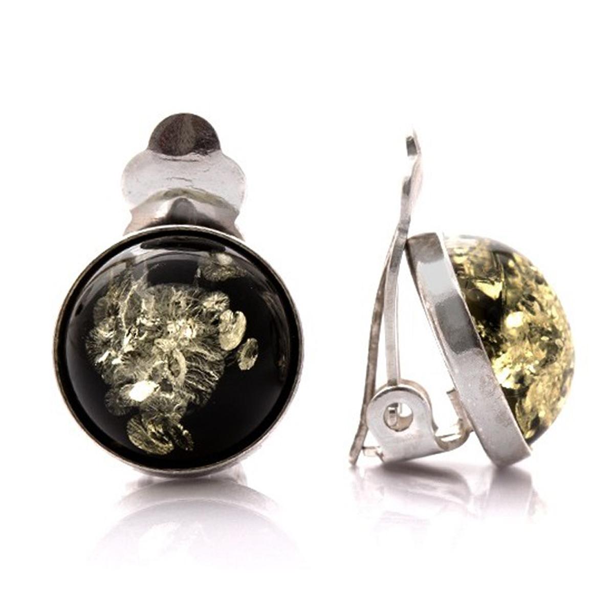 Clips Argent \'Inspiration\' ambre vert argenté (rhodié) - 12 mm - [Q1804]
