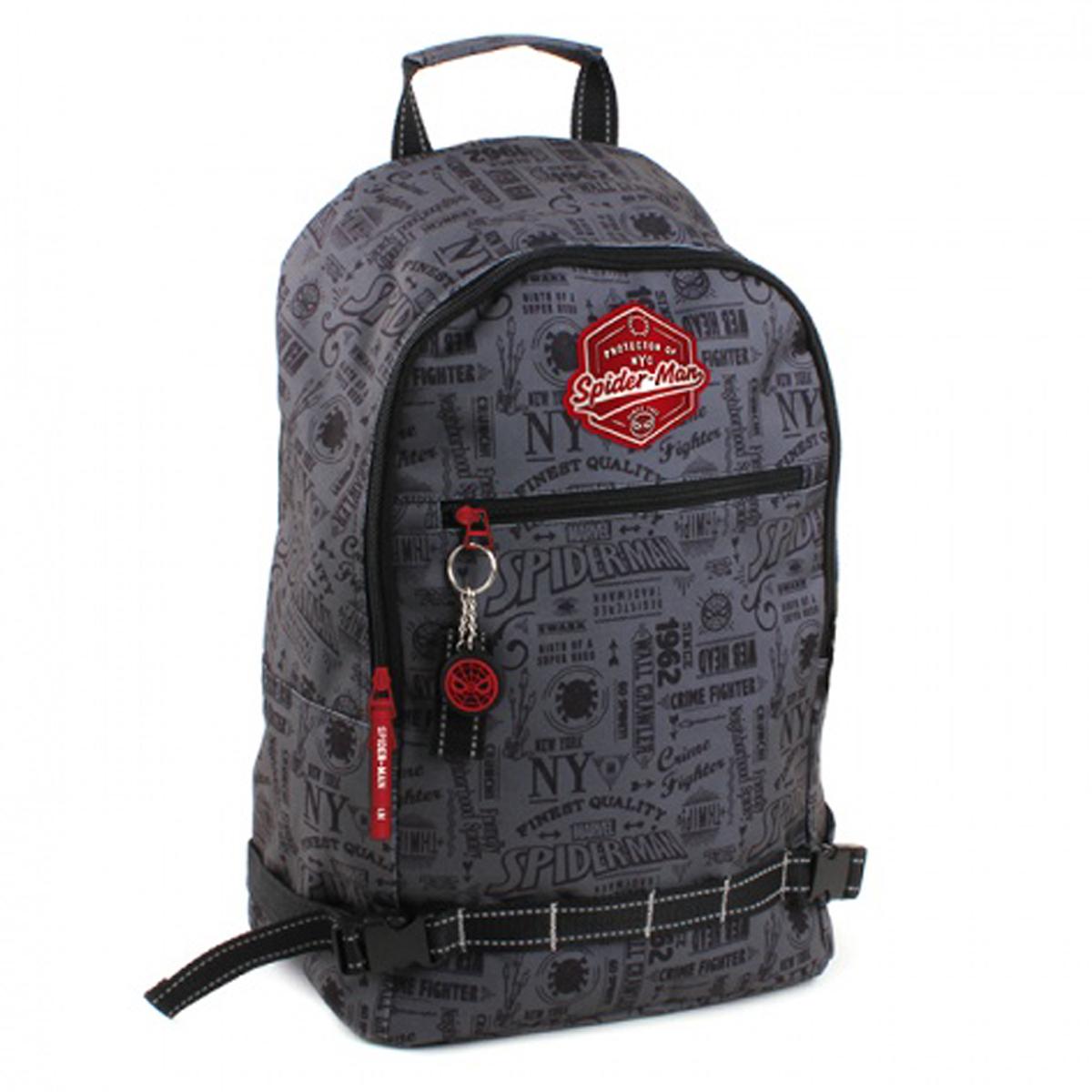 Grand sac à dos créateur \'Spiderman\' gris - 45x30x15 cm - [Q4090]