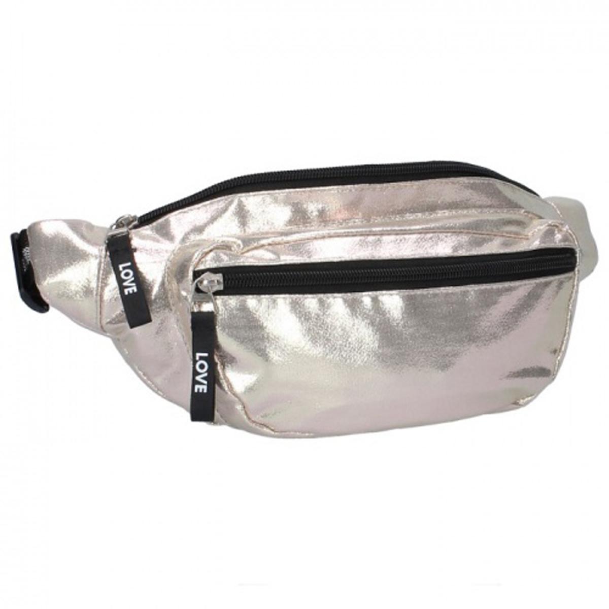 Sac banane / pochette ceinture \'Milky Kiss\' doré (shiny) - 35x15x5 cm - [Q7447]